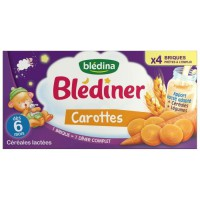 BLEDINA Blédîner Céréales lactées Carottes - 4x250 ml - Des 6 mois