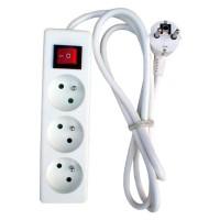 Bloc multiprise 3 prises 16A avec interrupteur Blanc
