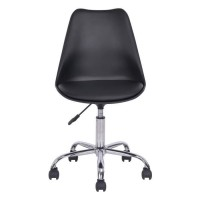BLOKHUS Chaise de bureau - Simili noir - Style contemporain - L 52,5 x P 52,5 cm