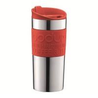 BODUM - TRAVEL MUG - Mug de voyage isotherme en inox double paroi - Rouge - couvercle a clapet - 0.35 L