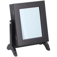Boîte a bijoux avec miroir inclinable - 21 x 12 x H.25,5 cm - Bois - Noir