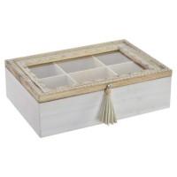 Boîte a infusion Mandala en bois et verre - 24x16x7 cm - Marron