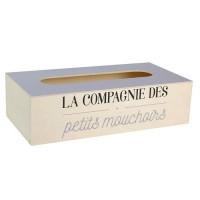Boite a mouchoir - Bois - 25 x 13,5 cm - Beige et gris