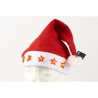 Bonnet 5 Etoiles lumineux en velours - H 42 x L 31 cm - Rouge