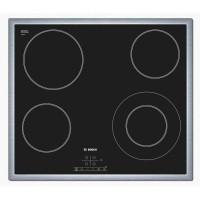 BOSCH PKF645B17E Table de cuisson Vitrocéramique - 4 foyers - 6600W - L57,5 x P50,5cm - Revetement verre - Noir