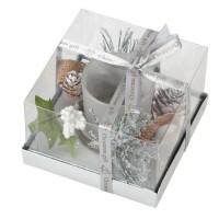 Bougeoir décor de Noël en verre - L 11,5 x l 11,5 x H 7 cm - Blanc