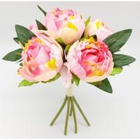 Bouquet déco de pivoines - H 30 cm - Rose pâle