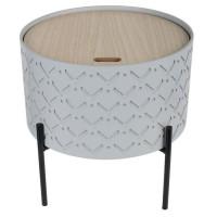 Bout de canapé avec coffre - Gris - L 35 x P 35 x H 35 cm