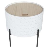Bout de canapé avec coffre- Blanc - L 35 x P 35 x H 35 cm