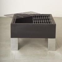 Braséro + barbecue carré avec pare-étincelles et 2 grilles - 68 x 68 cm