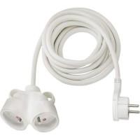 BRENNENSTUHL Rallonge électrique 5m avec fiche plate et prise double (IP20, type de câble H05VV-F 3G1,5), Blanc
