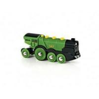 BRIO World - 33593 - Locomotive Verte Puissante A Piles - Jouet en bois