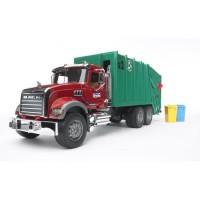 BRUDER - 2812 - Camion poubelle MACK avec 2 poubelles - 69 cms