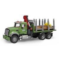 BRUDER - 2824 - Camion de transport de bois MACK Granite avec grue et rondins de bois - Echelle 1:16 - 61 cm