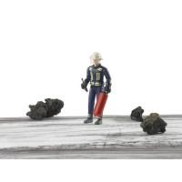 BRUDER - Figurine pompier avec casque, gants et accessoires - 10,7 cm