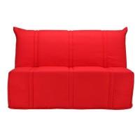 BULTEX Banquette BZ SANNA 140x190 cm 3 places - Tissu Rouge - L 143 x P 101 x P 95 cm