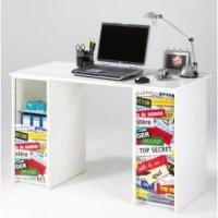 Bureau contemporain blanc mat et imprimé top secret - L 120 cm