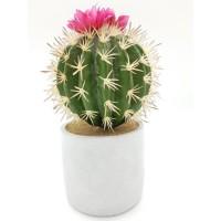 Cactus artificiel boule fleurie dans son contenant en céramique - H 27 cm - Gris
