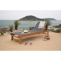 CAFI Bain de soleil en bois d'eucalyptus FSC et toile en textilene - gris