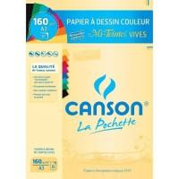 CANSON - Pochette papier dessin Mi-Teinte - A3 - 160g - 8 feuilles - Couleurs vives