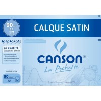 CANSON Pochette Calque Satin 12 feuilles A4 - 90 g