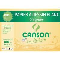 CANSON Pochette papier C a grain - 29,7 x 42 cm - 180 g - 10 feuilles - Blanc
