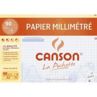 CANSON Pochette papier millimétré 12 feuilles A4 - 90 g - Bleu
