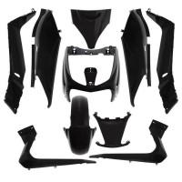 carenage maxiscooter adaptable yamaha 125 xmax 20062009/mbk 125 skycruiser 20062009 noir brillant (kit 10 pieces) -p2r-