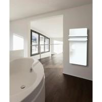 CARRERA Dryer S 1000 watts Radiateur seche-serviettes électrique - Programmable - LCD - Façade en verre blanc - 2 barres