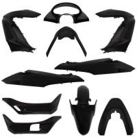 carrosserie/carenage maxiscooter adaptable honda 125 pcx 2009 noir brillant (kit 11 pieces) -p2r-
