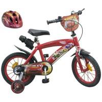 """CARS Vélo 16"""" + Casque - Enfant - Rouge et noir"""