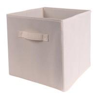 CASAME Cube pliable en intissé - 28 x 28 x 5 cm - Écru Lin
