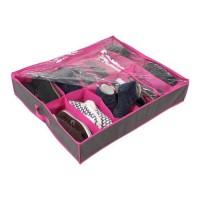 CASAME Housse Range chaussures 12 cases - 38 x 16 x 7 cm - Violet et Gris