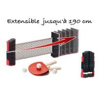 CDTS Kit Ping pong poteaux et filet extensible - 2 raquettes + balles