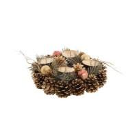 Centre de table Ananas avec 4 bougeoirs - 23 cm - Doré
