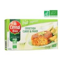 CEREAL BIO Croq'Soja Curry Pavot Bio, spécialité végétale a base de tofu - 200 g