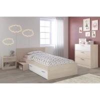 CHARLEMAGNE Chambre Enfant Complete style contemporain décor acacia clair et blanc - l 90 x L 190 cm