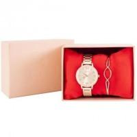 CHARLOTTE RAFFAELLI Coffret Montre Quartz et Bracelet bangle en métal COCRW18006 - Doré rose