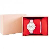 CHARLOTTE RAFFAELLI Coffret Montre Quartz et Bracelet en métal COCRW18001 - Rose pâle et doré rose