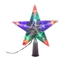 Cimier de sapin lumineux 10 LEDs - Multicolore fixe a piles - Ø 16 cm