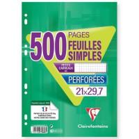 CLAIREFONTAINE - 500 Feuilles simples blanches - Perforées - 21 x 29,7 - Petits Carreaux 5x5 - Papier 90G