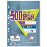 CLAIREFONTAINE - Copies doubles blanches perforées - 21 x 29,7 - 500 pages - 5x5 - Papier P.E.F.C 90G