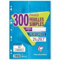 CLAIREFONTAINE - Feuilles simples blanches - Perforées - 21 x 29,7 - 300 pages Seyes - Papier P.E.F.C 90G