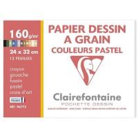CLAIREFONTAINE - Pochette dessin - Papier a grain P.E.F.C - 24 x 32 - 12 feuilles - 160G - Pastel
