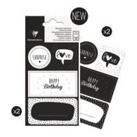 CLAIREFONTAINE 16 étiquettes anniversaire - 4 planches visuels assortis sous sachet
