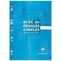 CLAIREFONTAINE Bloc Feuilles simples - 210 x 297 mm - 160 pages perforées 9 trous - Seyes papier PEFC 90 g - Couverture vernie