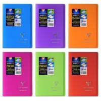 CLAIREFONTAINE Koverbook Carnet piqure avec rabats 96 pages - 110 x 170 mm - 5 x 5 papier PEFC 90 g - 6 couleurs assorties