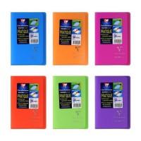 CLAIREFONTAINE Koverbook Carnet piqure avec rabats 96 pages - 90 x 140 mm - 5 x 5 papier PEFC 90 g - 6 couleurs assorties