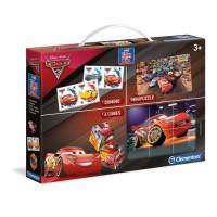 CLEMENTONI Mini Edukit - Cars 3 - Dominos, Puzzle et 6 Cubes