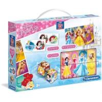 CLEMENTONI Mini Edukit - Disney Princesses - Dominos, Puzzle et 6 Cubes